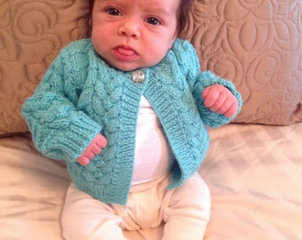 Hand Knitted Cabled single button cardigan