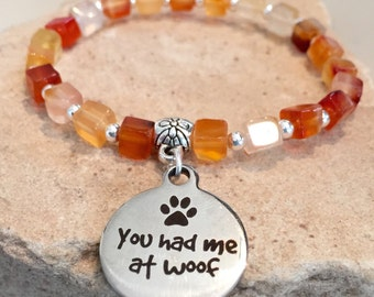 Amber bracelet, carnelian bracelet, bracelet for dog lover, sterling silver bracelet, charm bracelet, bracelet for animal lover gift for her
