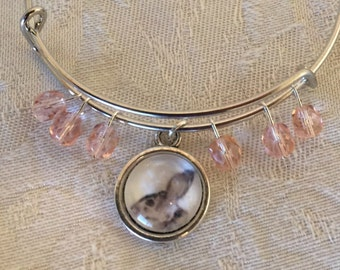 Glass Bunny Rabbit And Pink Crystal Adjustable Silver Tone Wire Bangle Bracelet
