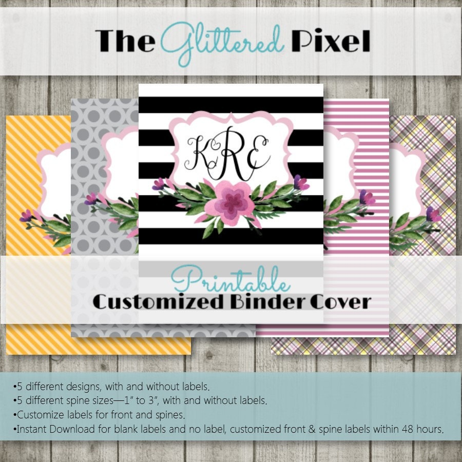 Printable Binder Covers Purple Watercolor Collection