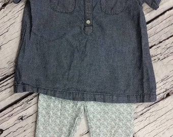 3 Piece girls outfit set size 18m - with matching hair clip - baby toddler girl adorable denim set
