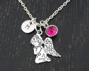 Praying Angel Necklace, Praying Angel Charm, Praying Angel Pendant, Praying Angel Jewelry, Religious Necklace, Religious Jewelry, Christian