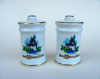 Vintage 70s Walt Disney World Salt and Pepper Shakers, Starring Cinderella's Castle