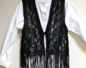 Vintage HIPPIE Woodstock FRINGED Black VEST macrame- sz small