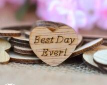 "100 Best Day Ever! Wooden Hearts 1"" - Rustic Wedding Decor - Table Confetti - Wedding Invitations"
