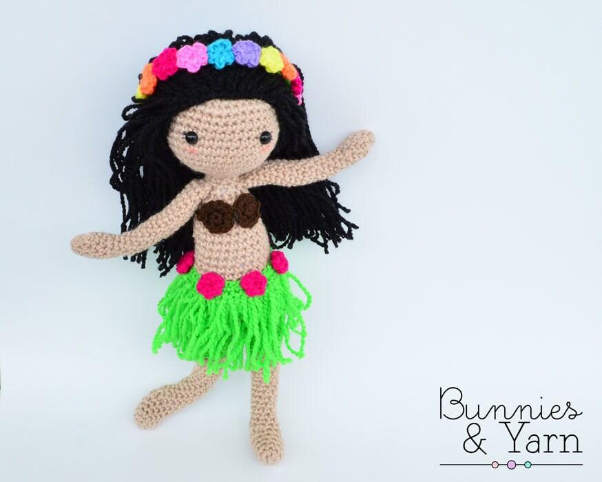 Amigurumi Hawai Doll : CROCHET PATTERN Hannah the Hawaiian Doll by BunniesandYarn