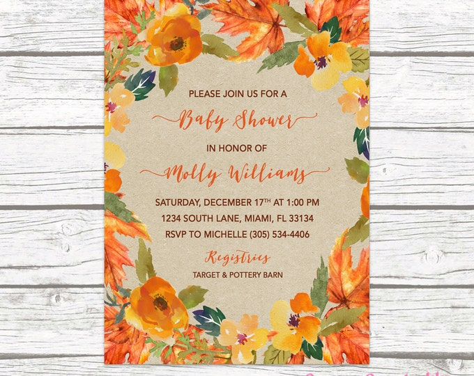 Fall in Love Baby Shower Invitation, Autumn Falling Floral Leaves Wreath Gender Neutral Rustic Invite, Boy Girl Printable Printed Invitation