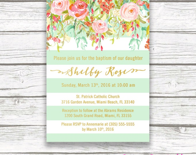 Floral Baptism Invitation Girl, Christening Invitation Girl, First Communion Invite, Mint and Gold Baptism Invitation, Printable Invite