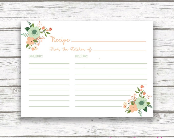 Boho Floral Bridal Shower Recipe Cards, Kitchen Shower Invitation Recipe Card Insert, Peach and Mint Green Wedding Instant Download