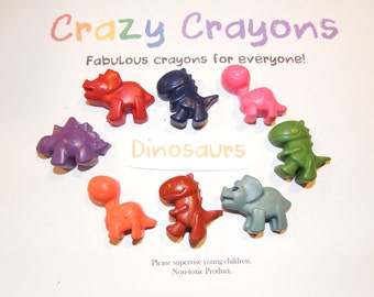 ROAR, ROAR!! Here come the Dinosaurs! Great set of 8 DINOSAUR Crayons