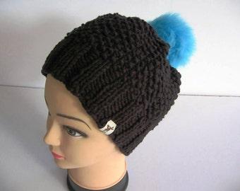 EL BURRO Beanie Bobble Hat Knit Beanie black blue 45% cotton