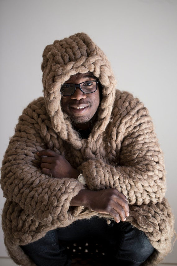 Knitting Patterns For Men s Hooded Sweaters : Chunky knit sweater for men. Mens oversized hoodie. Bulky