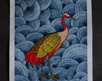 Watercolor painting —  Crane on the indigo background (original)