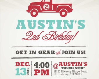 Truck On Over Birthday Invitation with envelopes