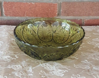 Vintage Anchor Hocking Avocodo Green Glass Bowl - Starburst Design Nut Bowl