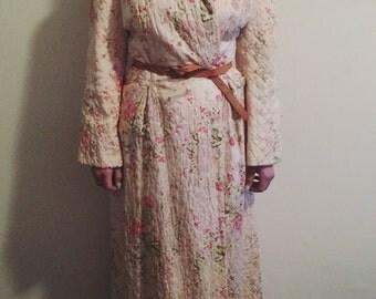 Vintage Floral Print Quilted Robe
