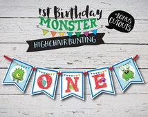 Highchair Bunting, Flags, Garland. Monster Party. Baby First Birthday High Chair, Boy First Birthday Party Decorations.