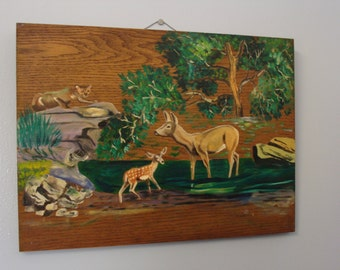 Vintage Painting Forest Deer Bobcat Wood Wall Hanging Picture 60's Rustic Cabin Country Decor
