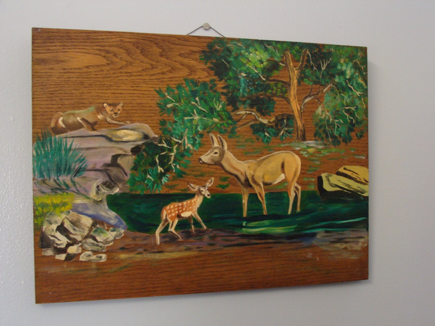 Vintage Painting Forest Deer Bobcat Wood Wall Hanging Picture