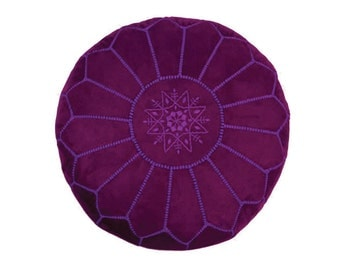 Moroccan Embroidered Handmade Authentic Suede Leather Pouf, Purple