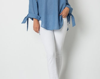 T30318 Long Sleeve Off Shoulder Cotton Poly Elastic Shirt Tail Hem Top w/ Wrist Tie (Made in USA)