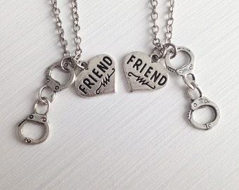 set of 2 handcuff necklace - friend necklace - heart necklace - girlfriend - friendship necklace - sister gift - birthday