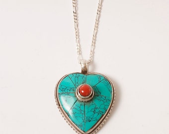 Solid Sterling Silver Heart Pendant with Turquoise & Coral Detail, Vintage, Nepalese Jewelry, Oxidised Silver, Silver 925
