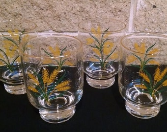 Viking Wheat Glasses 12 Ounce - International China Homer Laughlin Footed Beverage Glasses - Set of 4 - Vintage 1950s