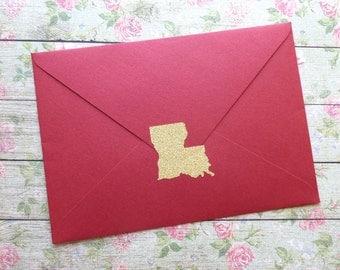20 gold glitter Louisiana stickers, silver or gold Louisiana envelope seals, Louisiana wedding invitation seal, Louisiana save the date, LA