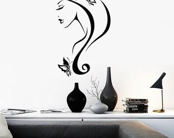 Wall Vinyl Decal Butterflies in Woman's Hair Beautiful Face Cool Abstract Modern Home Decor (#1100dz)