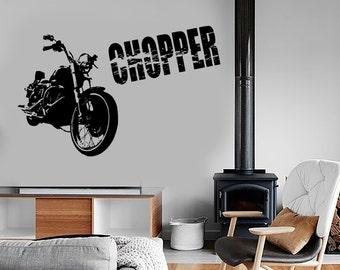 Wall Vinyl Decal Chopper Bike Biker Speed Racing Decor Freedom Amazing 1336dz