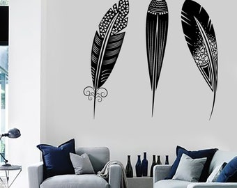 Wall Vinyl Decal Feather Romantic Ethnic Amazing Bedroom Cool Decor Mural Art 1490dz