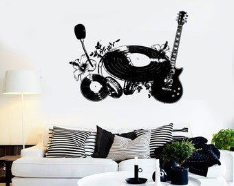 Wall Vinyl Music Shield Flower Instruments Guaranteed Quality Decal Mural Art 1554dz