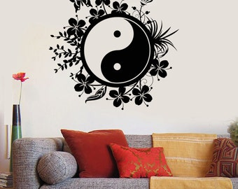 Wall Vinyl Decal Yin Yang Eastern Yoga Buddha Meditation Decal 2205di
