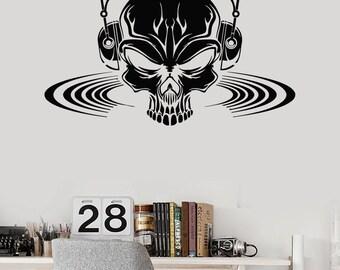 Wall Vinyl Decal Skull Music Headphones Scary