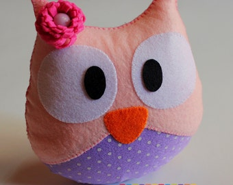 Handmade Wool felt Owl, Owl Pillow, Plush Toy, Stuffed Animal, owl decorate
