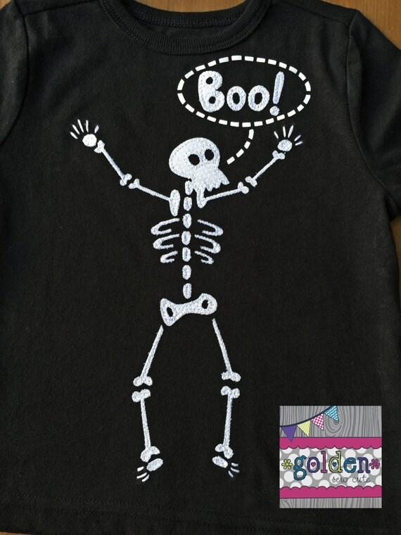 Halloween Bones Skeleton BOO Boy Tee, Boy Shirt, Onesie