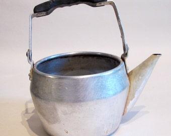 Vintage Small Aluminium Teapot, Retro Metal Tea pot, Soviet Container, Rustic Home Decor, Farmhouse Decor