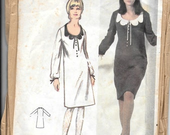 Butterick 3721 Vintage Sewing Pattern One Piece Dress Size 12 1960s Precut