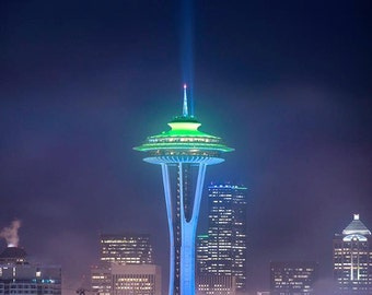 Rise Above it All, space needle, washington, cityscape, wall art, seattle, downtown, foggy, fog, kerry park,