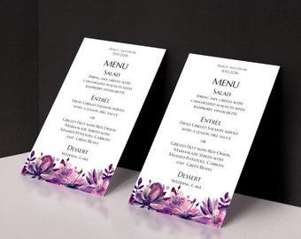 Carta di Boho matrimonio menu digitale Scarica il menu modello di fiori matrimonio viola menu menu stampabile floreale matrimonio Magenta menu modificabile 1W63