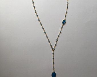 Blue and Gold Beaded Chain with Blue Chalcedony Bezel Pendants