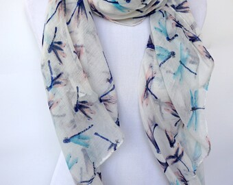 White Scarf / Womens scarves / Dragonfly Scarf / Fashion Accessories / Summer Fashion Scarf / Boho Scarf / Romantic Gifts For Her