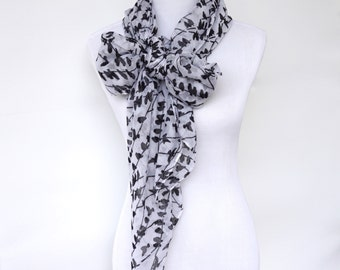 White Scarf, Womens Scarves, Spring Scarf, Black White Scarf, Fashion scarf, Boho Scarf Shawl, Women's Scarf, Gifts For Her