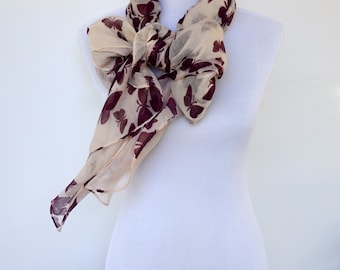 Beige Women Scarf, Butterfly Scarf, Womens Viscose Scarves, Fashion scarf, Boho scarf, Scarf Shawl, Women's Scarf, Gifts For Her