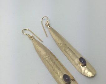 amethyst earrings,gold plated dangle earrings,amethyst dangle earrings,gold plated earrings,dangle earrings,gypsy earrings,long earrings,