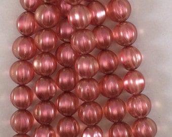Melon Beads, 14mm, Guava, 287-14-79205, 8 Beads, Czech Glass