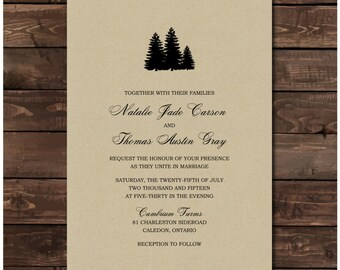 Pine Tree Wedding Invitation Printable - Custom Pine Tree Invites