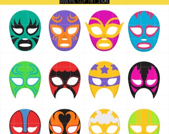 Mexican Wrestling, Festival, Mexico Mask, Lucha, Sports Digital Clip Art For Planner Stickers, Scrapbooking, Journal, Art Pieces