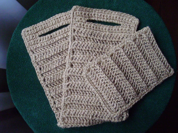 NATURAL Handemade bath/shower SPONGE SET, crochet sponge, 100 % natural jute